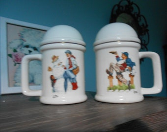 large RARE antique norman rockwell antique salt and pepper shakers