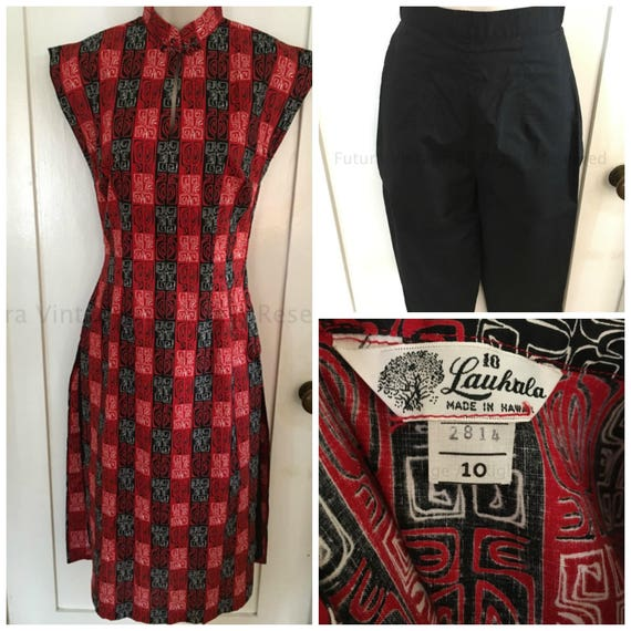 1950s Lauhala Made In Hawaii Gorgeous 2 Piece Red and Black Tea Timer and Pedal Pushers Outfit New Old Stock-XS