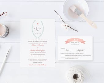 Laurel Heart Banner Wedding Invitation