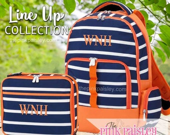 Monogrammed Backpack and Lunch Box | Personalized Backpack | Boys School BookBag | Back To School | Line Up Collection