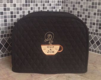 Black 2 Slice Toaster Cover with Coffee Cup Embroidery Ready To Ship
