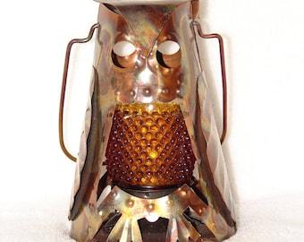 Vintage 1970s Mid-Century Brutalist Style Metal Owl Sculpture Votive Candleholder