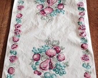 Sale Vintage Tea Towel with Fruit Design