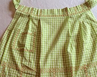 Sale Adorable Green Gingham Check Half Apron