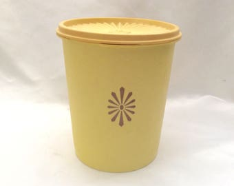 Yellow Tan Tupperware Canister