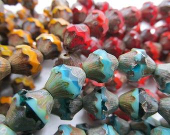 Czech Glass Baroque Bicones, Choose Color Choose Quantity, Bicone, Czech Glass Baroque Bead, 11 x 10mm Bicone, Czech Glass Bead, Bicones