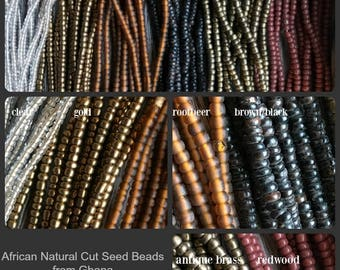 Natural Cut Seed Beads, African Recycled Seed Beads, Seed Beads, African Beads, Natural cut, Seed bead strand