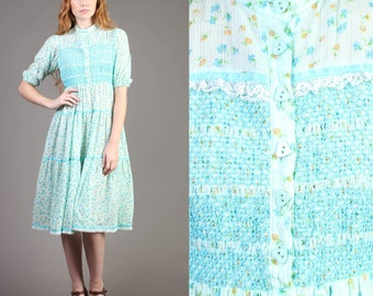 vintage HEART BUTTONS blue floral midi prairie boho lace sun smocked dress 70s 1970s extra small small XS S