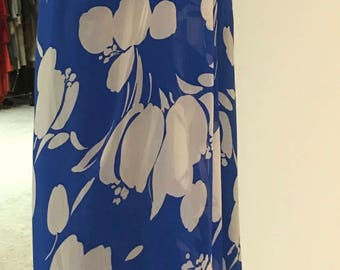 Vintage 1970s Adele Simpson Silk Chiffon Blue Abstract Floral Strapless Gown / Maxi