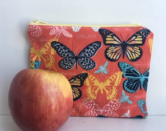 Reusable Sandwich Bag,  Zipper Bag  - Red Butterfly