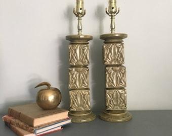 Pair of Mid Century Floral Green Ceramic Lamps