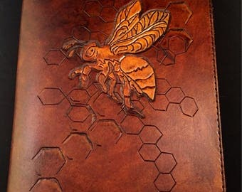 Handmade Leather Bee Honeycomb Journal Cover with Journal (Ready to Ship)
