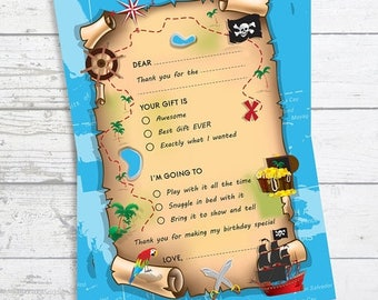 Sale Pirate Treasure Map - Fill In The Blank Birthday Party Thank You Card  - Professionally printed *or* DIY printable PDF