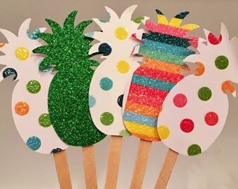 Pineapple Cupcake Toppers, Luau, Island Party, Tropical