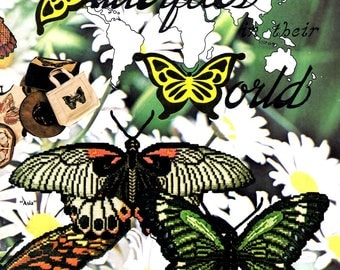Butterflies Their World Butler Moth Great Mormon Giant African Swallowtail Orange Tip Counted Cross Stitch Embroidery Craft Pattern Leaflet
