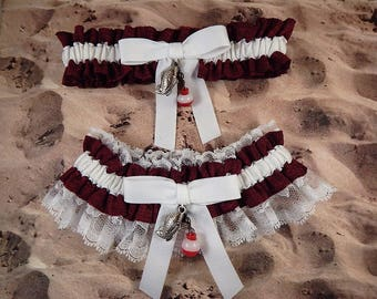 Fishing Burgunday Wine Maroon Linen Look White Twill White Lace Fish Bobber Charm Wedding Bridal Garter Toss Set