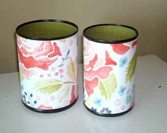 Watercolor Floral Desk Accessories, Olive Green and Floral Pencil Holder, Make-up Brush Holder, Office Organization, Coworker Gift - 1095