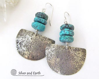 Natural Turquoise Earrings,  Handmade Sterling Silver Earrings, Turquoise Silver Earrings, Organic Earthy Rustic Edgy Silversmith Jewelry