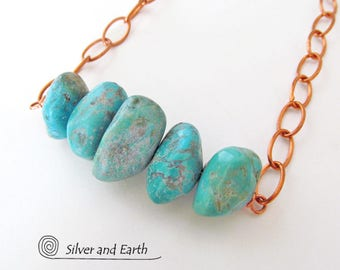Chunky Turquoise Necklace, Copper Chain Necklace, Earthy Natural Genuine Turquoise Jewelry, Turquoise Stone Necklace, Boho Festival Jewelry