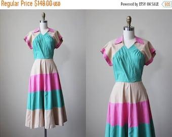 ON SALE 1940s Dress - Vintage 40s Dress - Color Block Pink Tan Jadeite Linen Swing Sundress S - Spumoni Dress