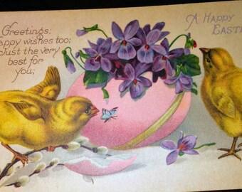Sale-Vintage Easter Postcard-Chicks, egg, Violets