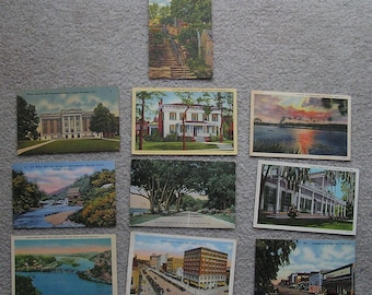10 Assorted Linen Postcards of WV, GA, MS, Al, Fair to Very Good Condition