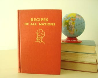 Recipes of All Nations by Countess Morphy, vintage 1935 cookbook, 1952 edition, international menu recipes, thumb tab index, gift for chefs