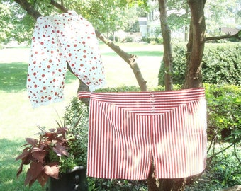 His & Hers aprons, boxers and bloomers, vintage handmade red  and white apron set, engagement or wedding gift, humorous kitchen shower gift