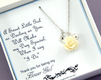 Thank you For Being Our Flower Girl - Gift Boxed Jewelry Flower Girl Necklace With Personalized Hand Stamped Leaf Flower Girl Gift