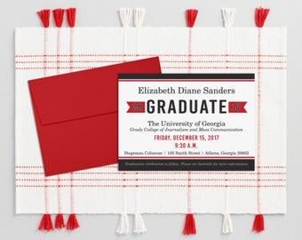 College Graduation Announcement, Red and Black Graduation Celebration Invitation, DIY Printable Graduate Invite