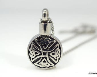Stainless Steel Celtic Cross Necklace, Vial Necklace, Vial Pendant, Unisex Necklace, Stainless Pendant, Cremation Urn Necklace