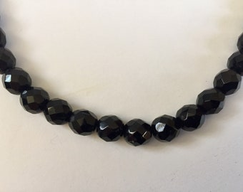 Vintage black glass crystal faceted beads ~ 8mm ~ string of 88 beads ~ Necklace Single Strand