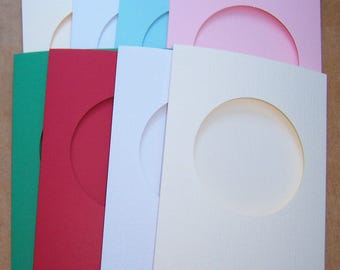 "Card Blanks, 5 round aperture cards, greeting cards blanks with 5 white envelopes, Aperture cards, 8 x 6 "", assorted colors"