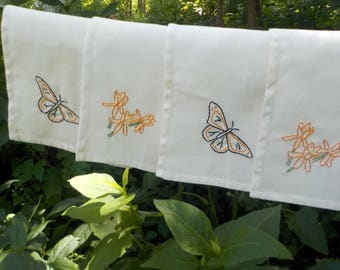 Monarchs and Milkweed cloth napkins-hand embroidered