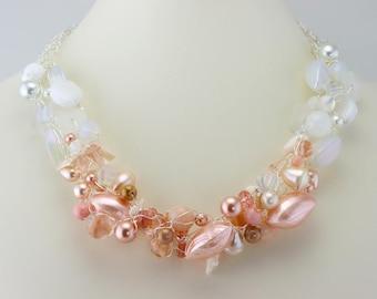 Ombre Peach Crochet Wire Necklace with Genuine Sea Glass
