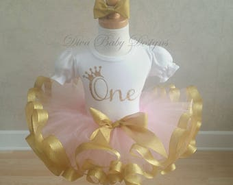 ONE pink and gold first birthday ribbon trimmed tutu outfit -Also comes in ages TWO, THREE, Four and Five in pink/silver, lavender & gold