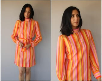 Vintage 60s Dress | 1960s Dress | Striped 60s Dress | 1960s Day Dress | 60s Shift Dress | 1960s Striped Dress - (small)