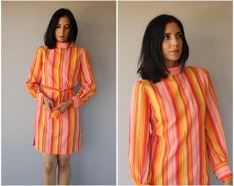 Vintage 60s Dress | 1960s Dress | Striped 60s Dress | 1960s Day Dress | 60s Shift Dress | 1960s Striped Dress - (small)
