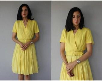 1960s Anne Fogarty Dress   60s Linen Dress   1960s Day Dress   60s Dress   Vintage Wrap Dress (medium)