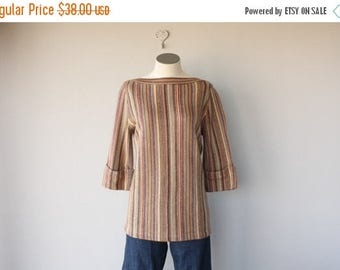 48 HR FLASH SALE Vintage 1970s Sweater | 70s Sweater | 70s Boho Sweater | 70s Tunic Sweater | Striped Sweater