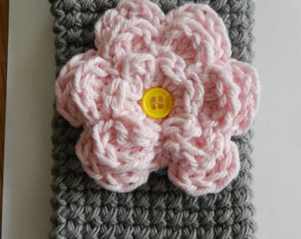 Crocheted Cell Phone Cozy/ Crocheted Light Pink Flower Cell Phone Cozy