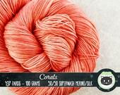 Orange Hand Dyed Yarn, Sock Yarn, Merino Wool Yarn, Fingering Yarn, Tonal Yarn, Silk Yarn, SWM, Heirloom Luxe, Corals, pink yarn, coral