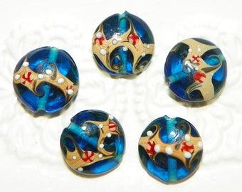 Aqua Blue Glass Lampwork Lentil Beads -  8 Pieces  Lot
