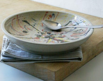Colourful butterfly splatter pattern wide dish bowl - hand thrown stoneware pottery