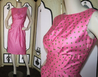 Vintage 1960's Dress by Elegant Miss of California in Bubblegum Pink and Green Polka Dots. Small.