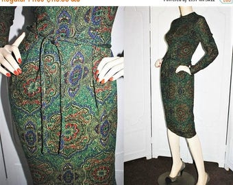 ON SALE Vintage 1950's Wool Dress. Moroccan Tile Design Motif. Exquisitely Made. Small.