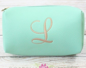 Vegan Leather Mint Cosmetic Make Up Bag - Monogrammed Embroidered Personalized