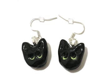 Black Cat Earrings, Handmade Jewelry, Hand-Built Ceramic Cat Jewelry