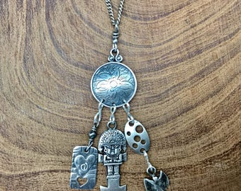 Silver Fetish Talisman with heart, goddess and totem dude