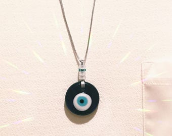 Evil Eye Pendant with Adjustable Smooth Cord